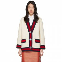 Gucci Off-White Tweed Oversized Cardigan 469657 ZID86