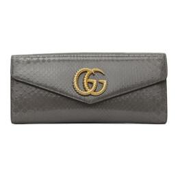 Gucci Grey Snakeskin GG Broadway Clutch 594101 LJM0G