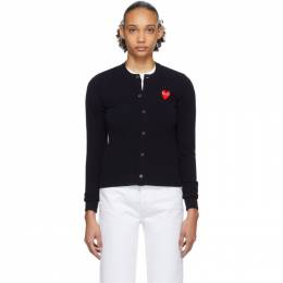 Comme Des Garcons Play Navy and Red Heart Cardigan P1N007