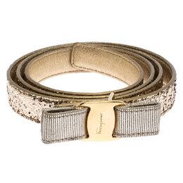 Salvatore Ferragamo Gold Glitter Vara Bow Belt