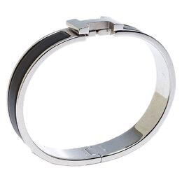 Hermes Clic HH Matte Noir Enamel Palladium Plated Bracelet GM
