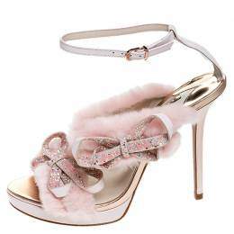Sophia Webster Pink Faux Fur And Leather Bella Bow Embellished Ankle Strap Sandals Size 40
