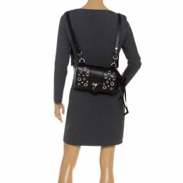 Giuseppe Zanotti Design Black Grommet Leather Gwen Backpack