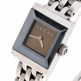 Gucci Brown Stainless Steel G Frame 128.5 Women's Wristwatch 14MM 252285