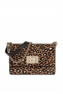 Коричневая сумка 1927 с принтом Furla 1962169722