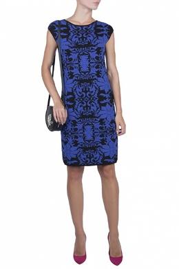 Черное платье с синим принтом Luisa Spagnoli 3090170719
