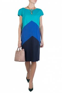 Синее платье-трапеция из цветовых блоков Luisa Spagnoli 3090170823