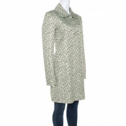 Kenzo Green and Gold Patterned Jacquard Coat M