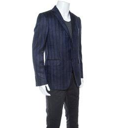 Etro Navy Blue Striped Wool Silk Blend Mineide Regular Fit Blazer L 251675