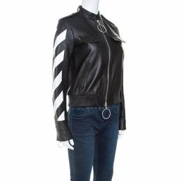 Off-White Black Leather Contrast Detail Zip Front Jacket S