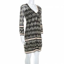 Missoni Bicolor Chevron Knit V Neck Shift Dress M 250962