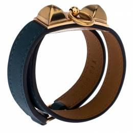 Hermes Teal Green Leather Rivale Double Tour Bracelet S