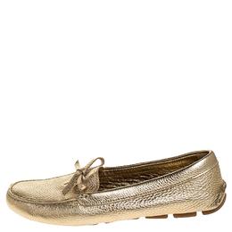 Prada Metallic Gold Leather Bow Slip On Loafers Size 38