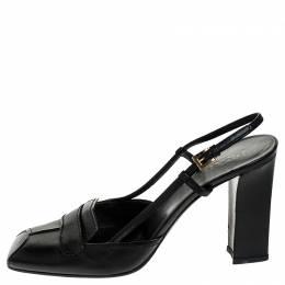 Prada Black Leather Square Toe Slingback Pumps Size 38