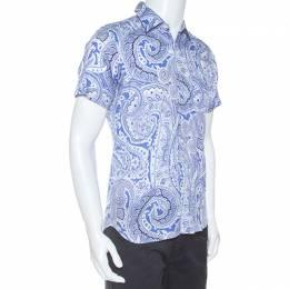 Etro Blue Paisley Print Cotton Short Sleeve Shirt M 253120