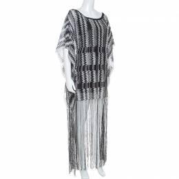 Missoni Monochrome Chevron Knit Fringe Detail Dress M 252226