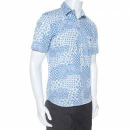 Etro Blue and White Paisley Printed Short Sleeve Shirt S