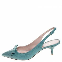 Miu Miu Baby Blue Embossed Lizard Leather Bow Detail Slingback Pointed Toe Sandals Size 39.5
