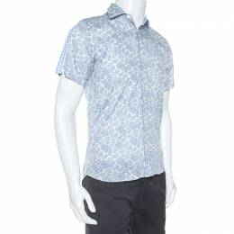 Etro White And Blue Paisley Print Cotton Short Sleeve Shirt S