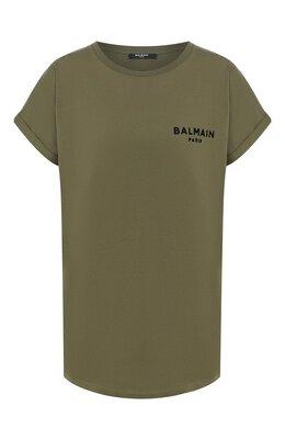 Хлопковая футболка Balmain TF11351/I382