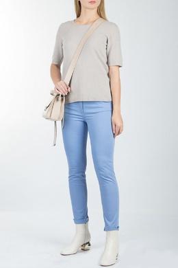 Голубые обтягивающие брюки Luisa Spagnoli 3090170188