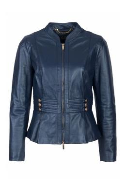 Синяя кожаная куртка Luisa Spagnoli 3090170199