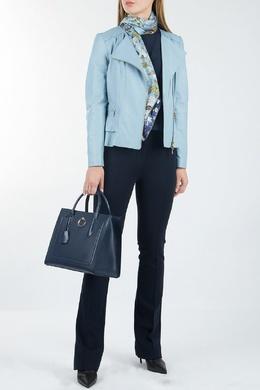 Голубая кожаная куртка Luisa Spagnoli 3090170143