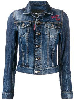 Dsquared2 укороченная джинсовая куртка с вышивкой S75AM0728S30667