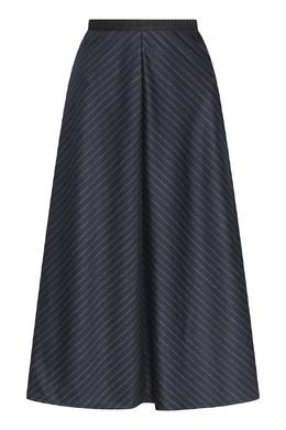 Синяя юбка-трапеция из шерсти с узором в полоску Antonio Marras 1574171300