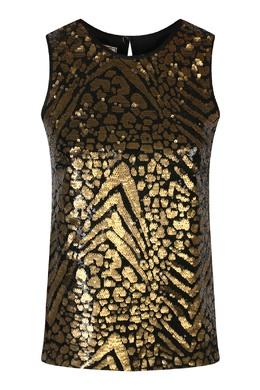 Черно-золотой топ декорированный пайетками Antonio Marras 1574171294