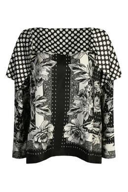 Черно-белая блуза из смешанного шелка с узором Antonio Marras 1574171295