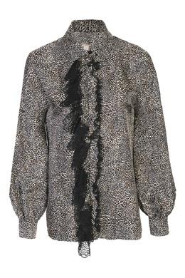 Бежевая блуза из шелка с узором и кружевной аппликацией Antonio Marras 1574171290