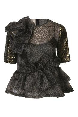 Черная блуза свободного кроя с узором декорированным пайетками Antonio Marras 1574171293
