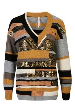 Серо-коричневый джемпер из смесовой шерсти с аппликацией Antonio Marras 1574171286