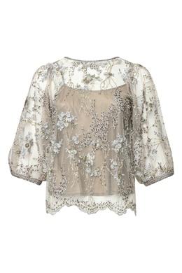 Блуза из сетки с вышивкой бисером и бусинами Antonio Marras 1574171289