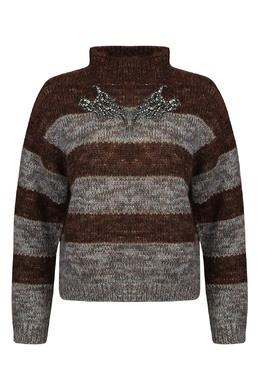 Коричневый свитер из мохера в полоску Antonio Marras 1574171266