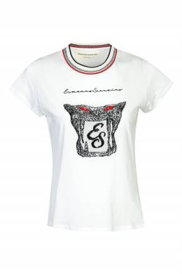 Белая футболка с логотипом и аппликацией Ermanno Scervino 1328171800