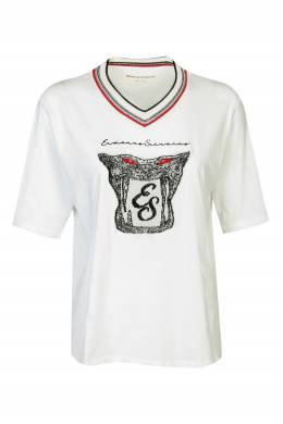 Белая футболка с V-вырезом и логотипом Ermanno Scervino 1328171801