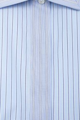 Голубая хлопковая рубашка в полоску Jil Sander 413172429