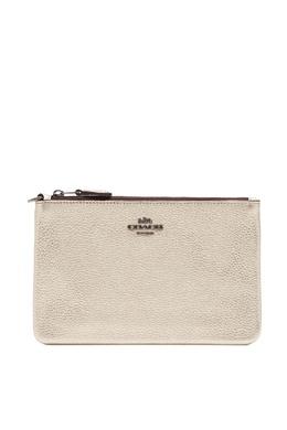 Золотистый кожаный кошелек Coach 2219172845