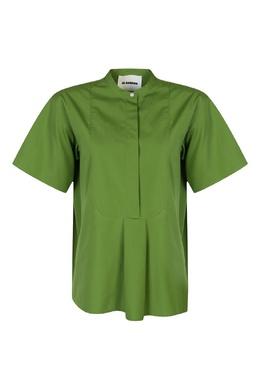 Зеленая хлопковая рубашка Jil Sander 413172345