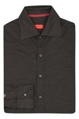 Коричневая трикотажная рубашка Isaia 2328171466