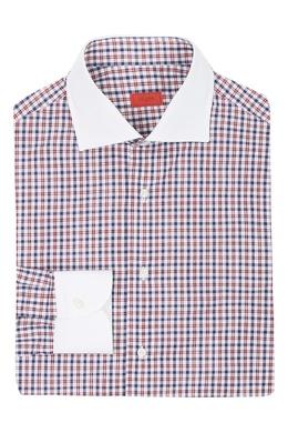 Рубашка с узором в клетку и однотонными манжетами Isaia 2328172225