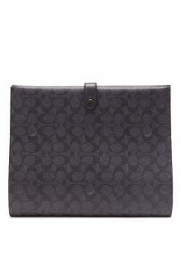 Черно-серый клатч из фирменного канваса Coach 2219172848