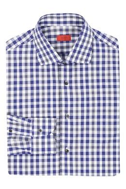 Хлопковая рубашка с мелким узором в клетку в сине-серой гамме Isaia 2328172219