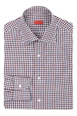 Рубашка с мелким узором в клетку в сине-коричневой гамме Isaia 2328172216