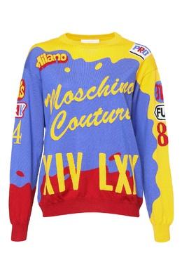 Трехцветный джемпер из шерсти Moschino Couture 2249173835