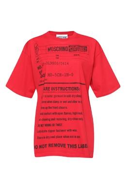 Красная футболка свободного кроя с принтом Army Label Moschino 2249173827