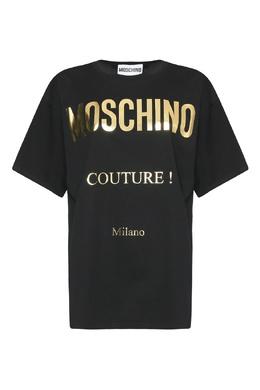 Черная футболка из хлопка с принтом Moschino 2249173819