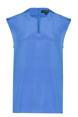 Голубой шелковый топ без рукавов St. John 1655173104